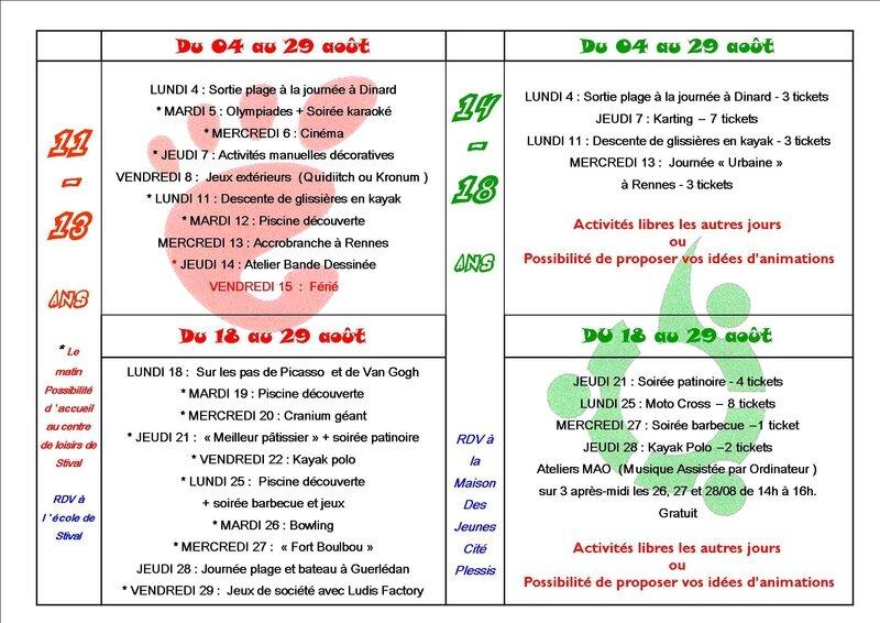 Programme D Activités Du Mois D Août Maison Des Jeunes