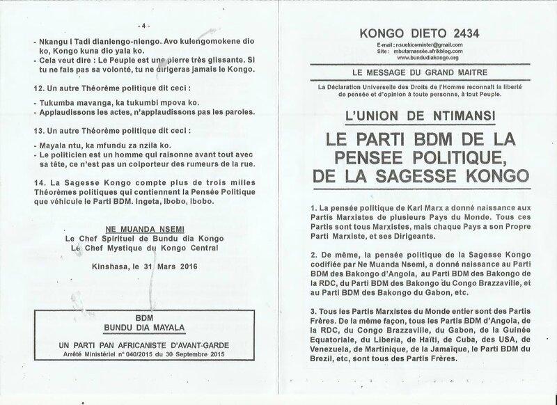 LE PARTI BDM DE LA PENSEE POLITIQUE DE LA SAGESSE KONGO a