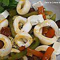 Calamars et chorizo, couscous à la grecque (recette jamie oliver)