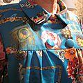 Manteau EDITH double boutonnage en polyester bleu canard imprimé - Doublure de satin turquoise - poches dnas les coutures de côtés - fermeture par 4 pressions dissumilés sous 4 boutons recouverts dans le mm tissu (4)
