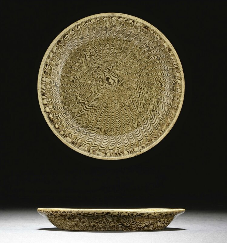 A rare marbled saucer dish, Northern Song dynasty