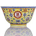 A fine and rare imperial lemon-yellow-ground famille rose wan shou wu jiang bowl.iron-red jiaqing six-character mark and period