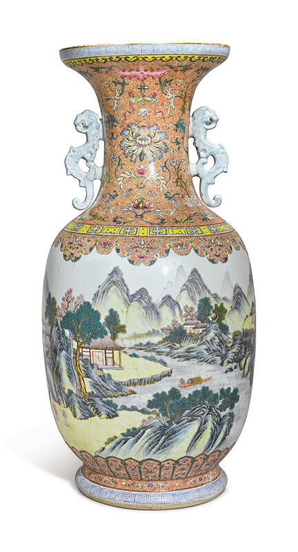 A large and rare famille-rose 'Landscape' vase, Qianlong seal mark and period (1736-1795)