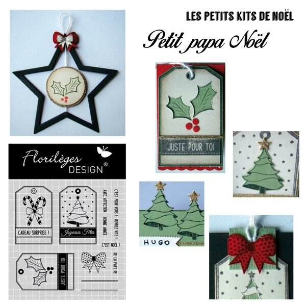 MINI KITS CARTERIE NOËL AVEC TAMPONS CLEARS FLORILÈGES DESIGN
