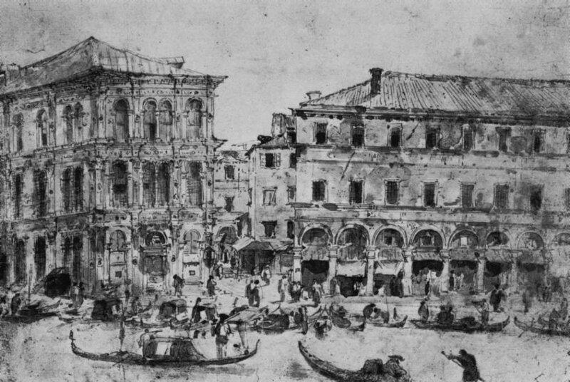 Francesco Guardi, Palazzo dei Camerlenghi with the Fabbriche Vecchie © bpk Kupferstichkabinett, SMB