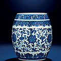 A fine and rare blue and white barrel-form jar, qianlong six-character seal mark and of the period (1736-1795)