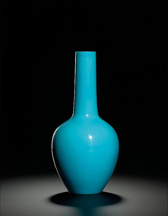A turquoise-blue glass bottle vase, wheel-cut mark and period of Qianlong (1736-1795)