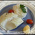 Dos de cabillaud au court-bouillon et riz tilda