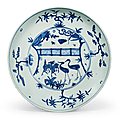 A large blue and white 'deer and cranes' dish, jiajing period (1522-1566)
