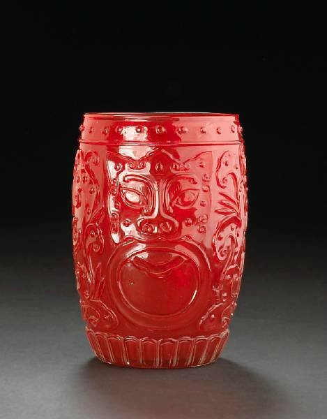 A ruby red glass cup. Photo Bonhams