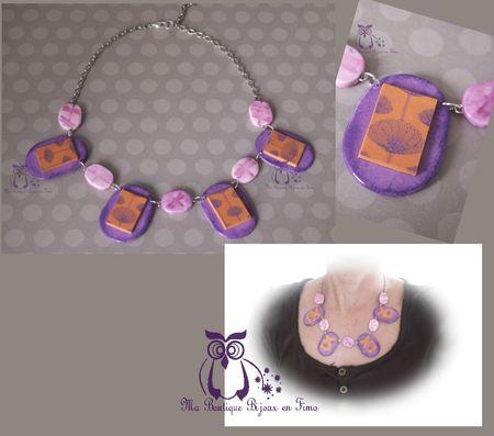 Collier Etching violet orangé libellules 1