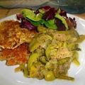 Ragoût de viande et de légumes et ses croquettes de manioc