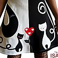 MOD 507D Robe Chat bicolore chic coeur rouge créateur made in France
