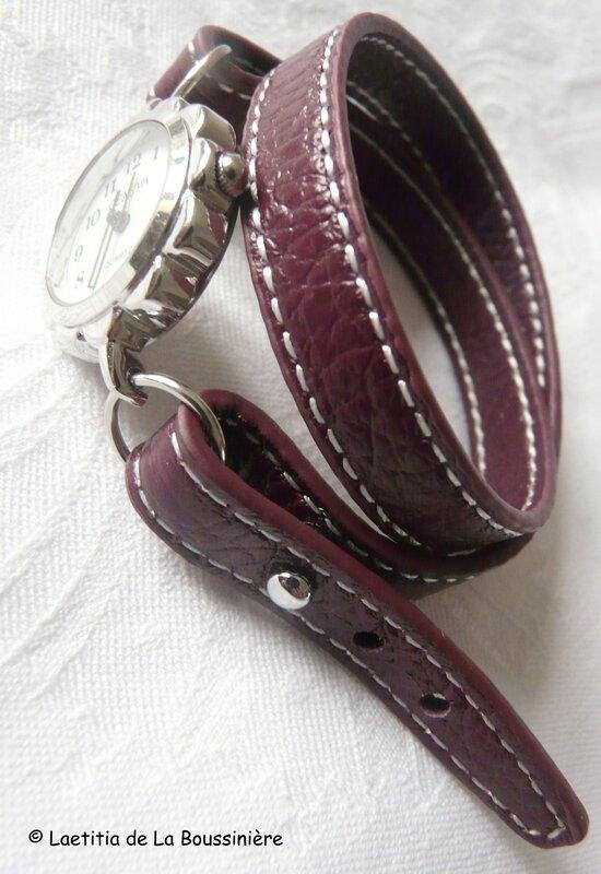 Montre double tour de poignet bracelet aubergine