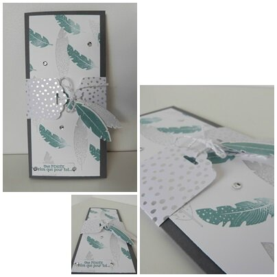 carte stampin up plumes