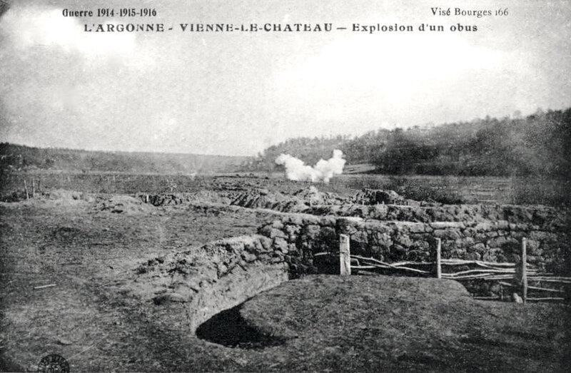 Vienne-le-Château, explosion d'un obus