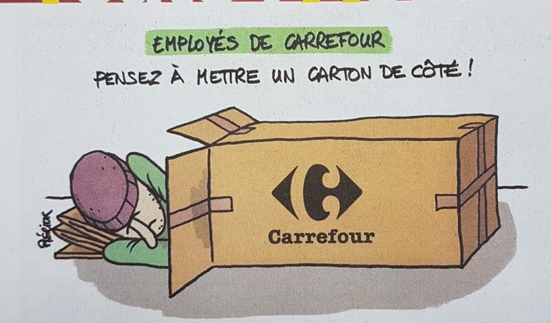 travail chomage chomeur sdf humour carrefour licenciment cac 40 medef macron