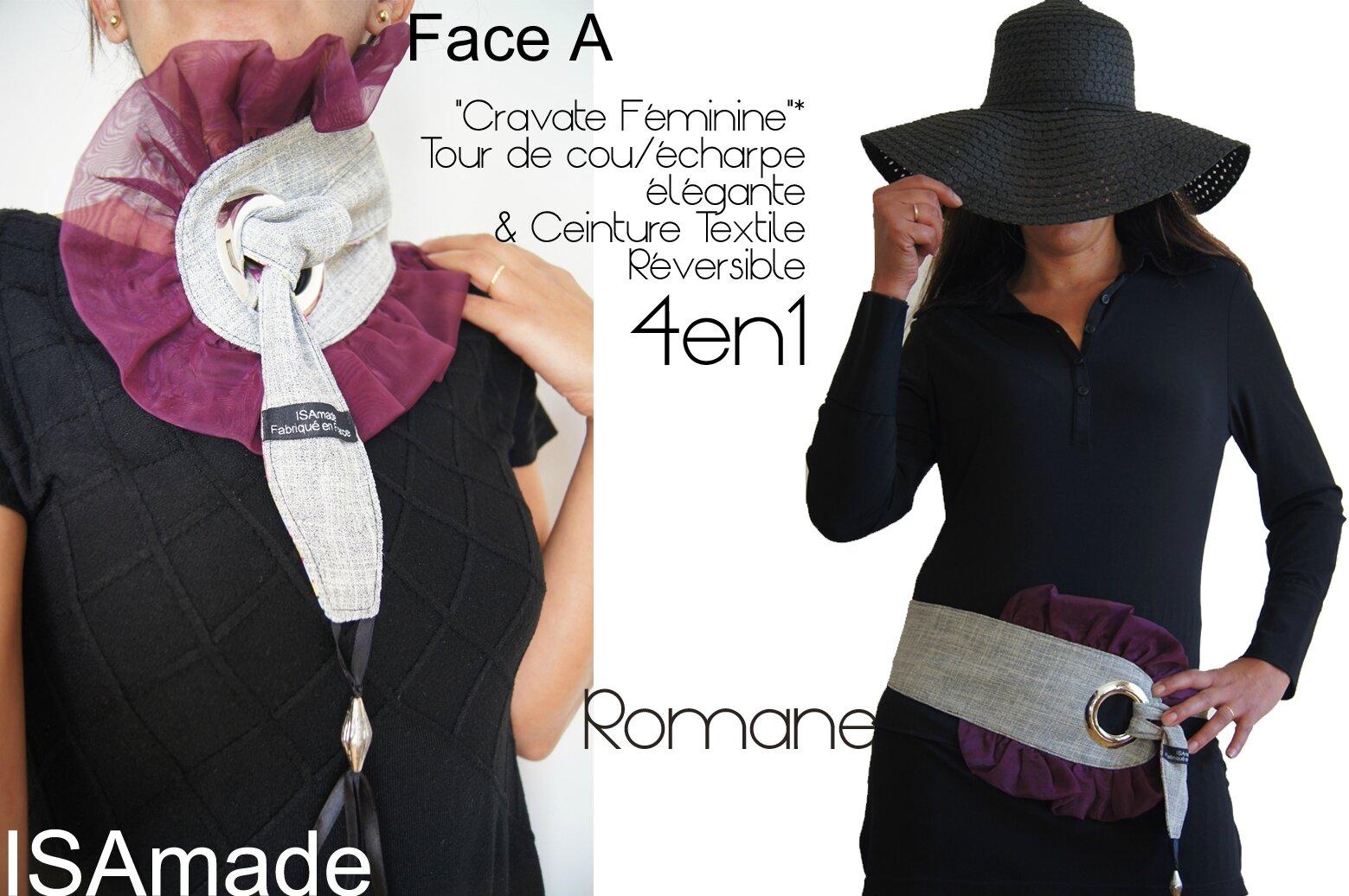 Idée de Cadeau de Noël : Cravate/ écharpe Féminine & Ceinture Reversible Imprimé Fantaisie et crèpe gris clair à volant Organza