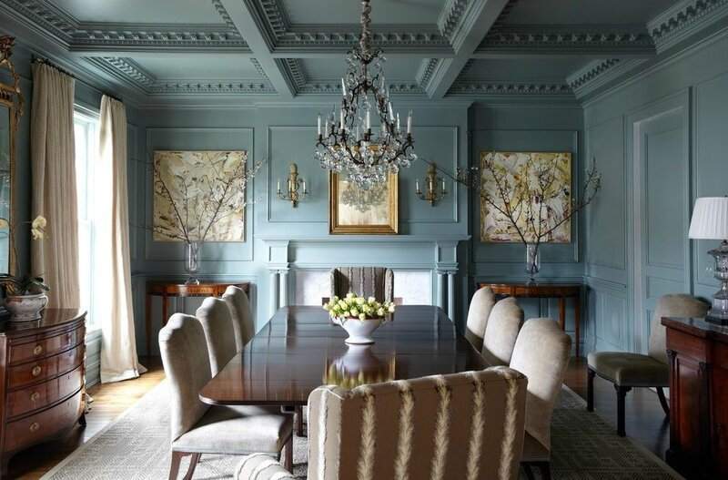 eggshell-paint-dining-room-traditional-with-wall-sconce-transitional-mirrors