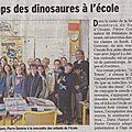 On en parle dans la presse : à l'école, la rencontre avec un auteur… et des dinosaures, le nettoyage par les enfants