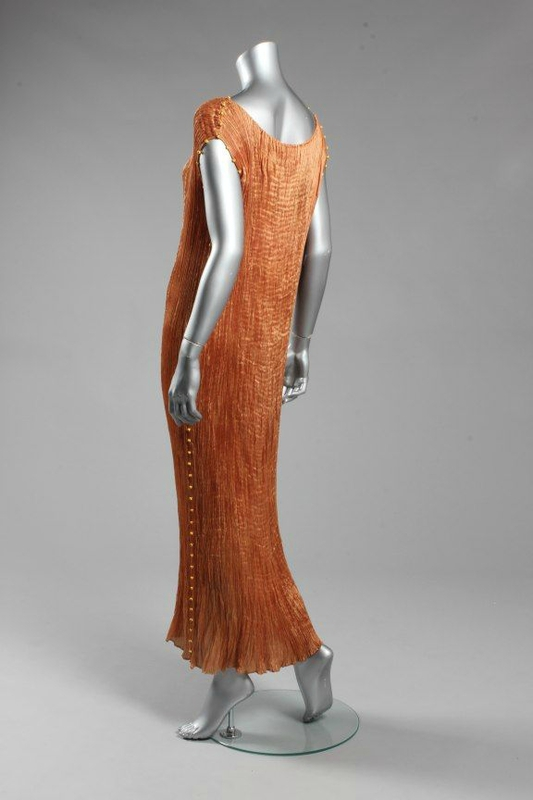A Mariano Fortuny copper silk Delphos gown, circa 1920-30 2
