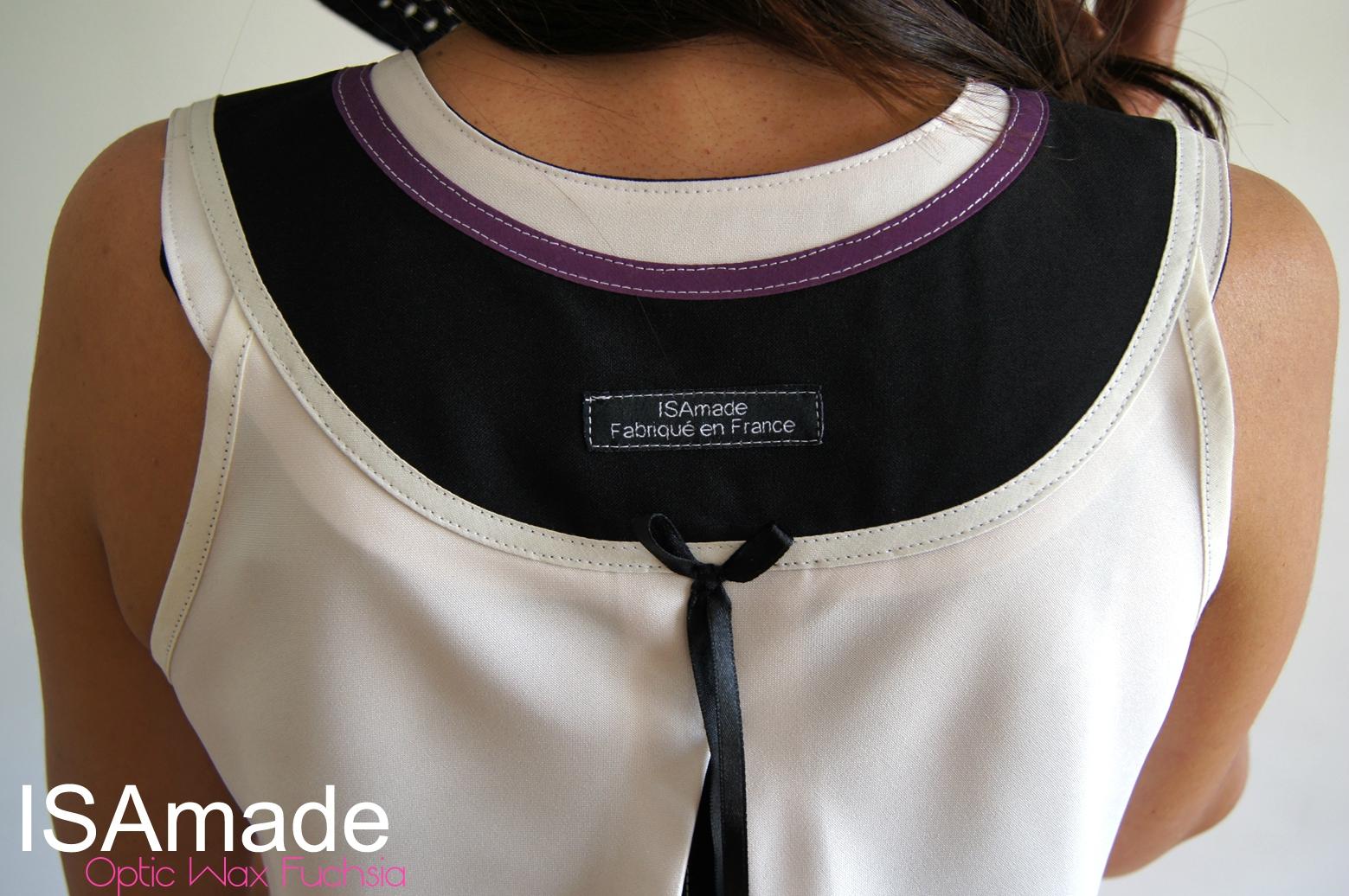 Robe trapèze Graphique Blanc écru imprimé wax africain avant gardiste design optique Fuchsia/ noir