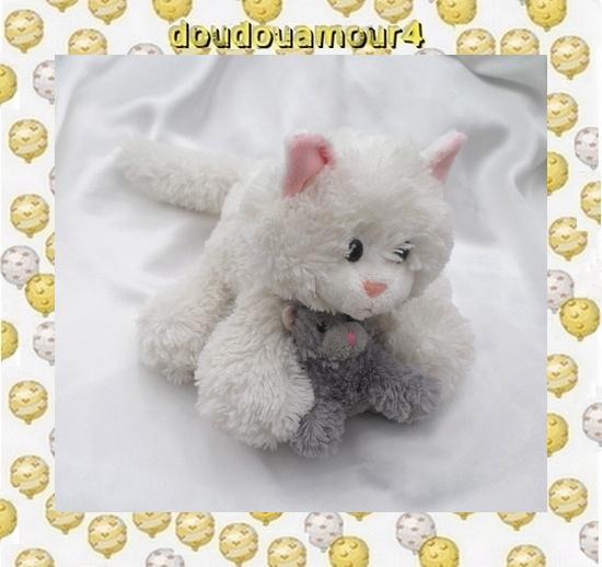 Doudou Peluche Chat Blanc Avec Chaton Gris Nounours