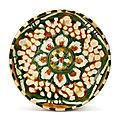 An impressive sancai 'lotus' dish, Tang dynasty (618-907)