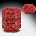Two rare carved red lacquer four-tiered boxes and covers, 16th century at christie's ny 26 march 2010