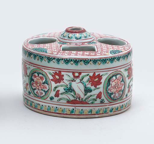 A Late Ming polychrome enamelled ink-cake stand, 17th Century