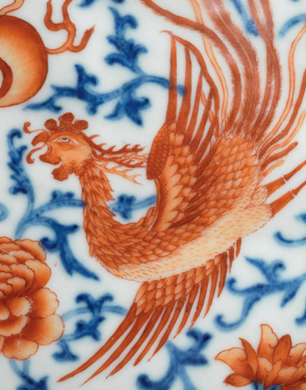 A very rare underglaze-blue and iron-red-decorated 'Phoenix' moon flask, baoyueping, Qianlong period (1736-1795) (d2)