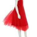 A comme des garçons red velvet tunic dress with tulle underskirt, autumn-winter, 1988-89
