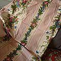 1951 tissu ancien ameublement vintage fleuri papillons bouquets de fleurs boussac