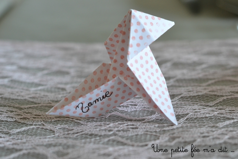 Marque Place Origami Pois Rose Communion
