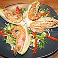 Gambas marinées à la plancha sur salade croquante