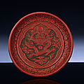 A finely carved late ming three-colour lacquer dish, ming dynasty, 16th century