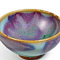An outstanding and exceptional heirloom Junyao purple-splashed 'bubble' bowl, Northern Song dynasty (960-1127)