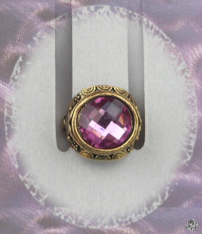 Bague Ciselée Ilona Perle Facetée Crystal Violet Métal Couleur Bronze T 59_60