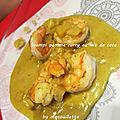 Scampi pomme-curry au lait de coco