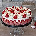 Cheesecake aux fraises et biscuits roses de la maison fossier