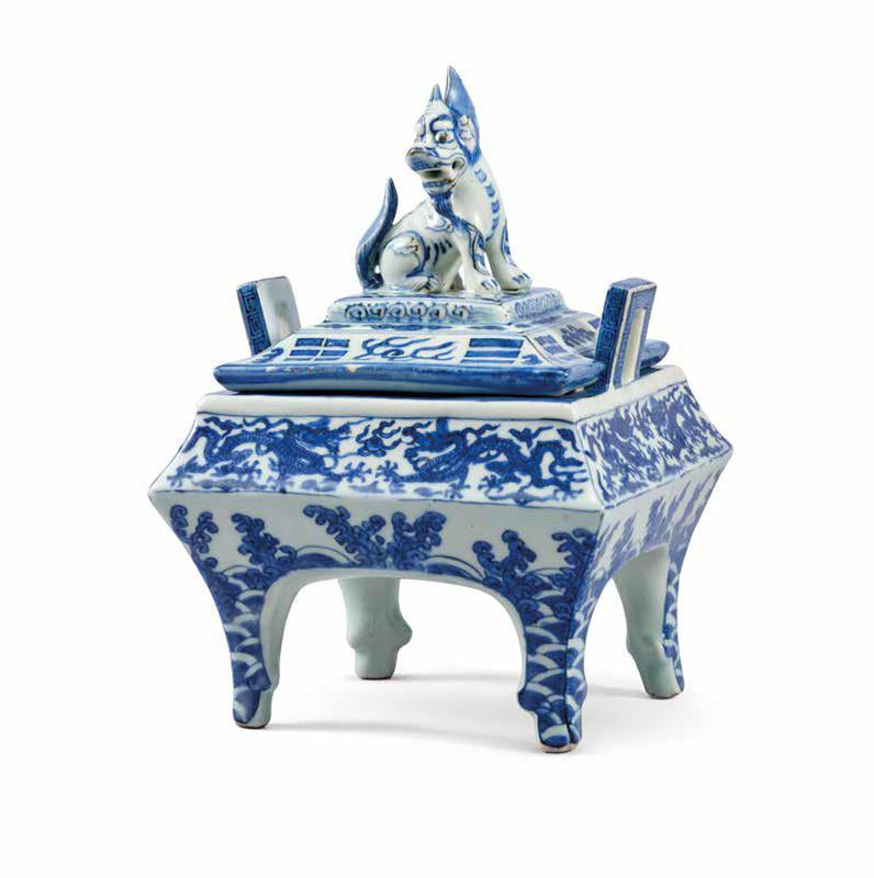 A Very Rare Blue And White Square Censer And Cover, Wanli Six-Character Mark In Underglaze Blue Within A Double Rectangle And Of The Period (1573-1619)