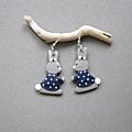 Boucles d'oreilles lapin gris / bleu marine