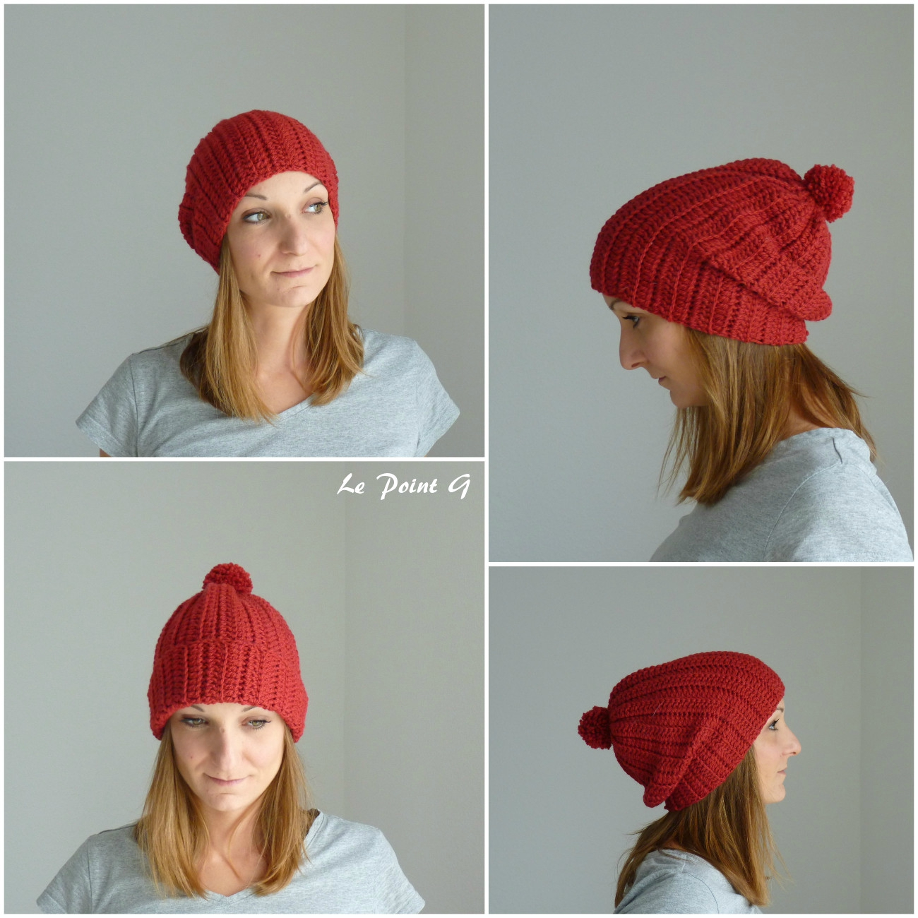 Bonnet long cotelé rouge à pompon