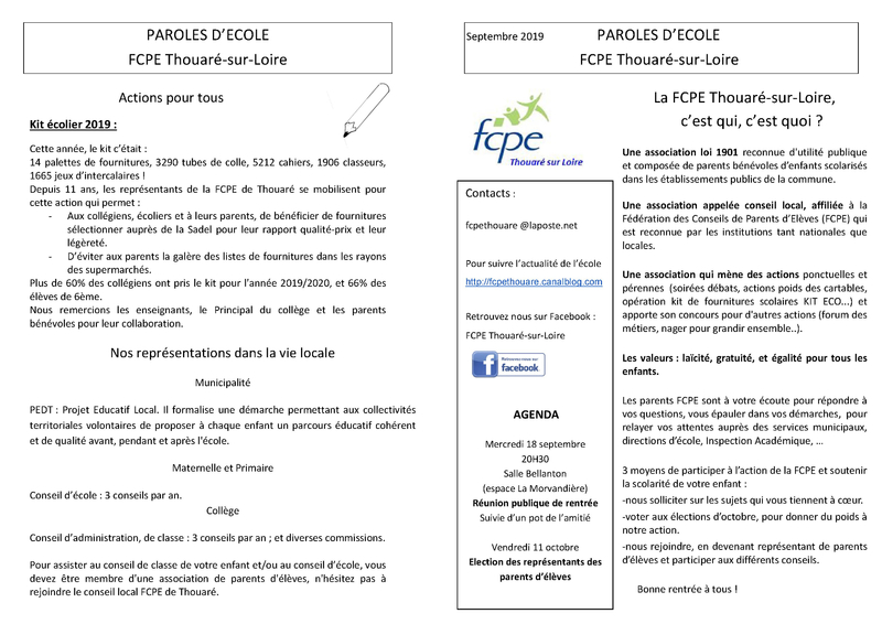 Paroles d'école sept 2019