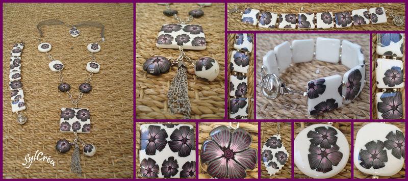 Sautoir et bracelet fleurs grises et roses