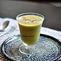Soupe froide de petits pois et haricots verts, lard grillé