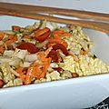 Salade de chou chinois, carottes, tomates , courgettes et oignons