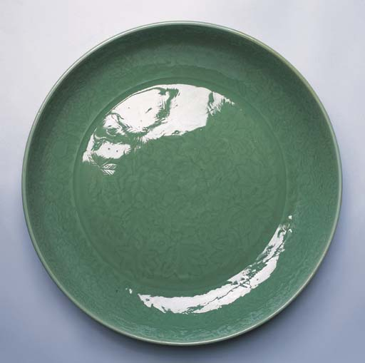 A very fine massive Longquan celadon dish, late 14th-early 15th century