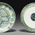 A large pale green, aubergine and yellow-glazed 'dragon' dish, kangxi period (1662-1722)