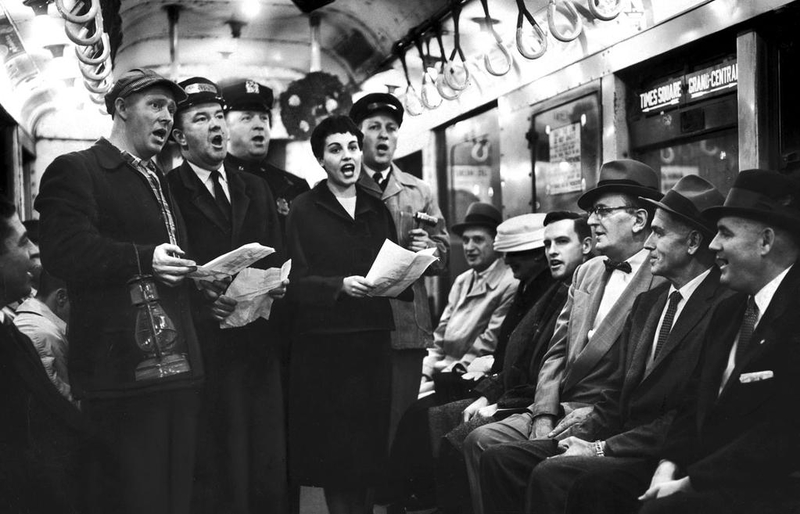 ransit workers form a quintet of carolers on a train in Grand Central Terminal, 1956